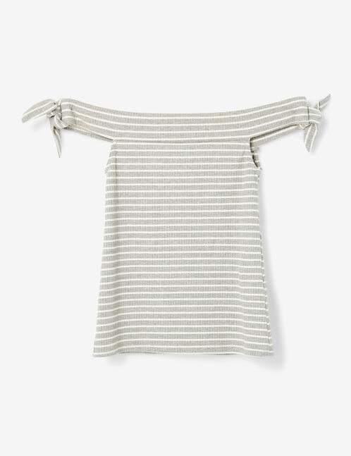 Grey marl and white striped off-the-shoulder top