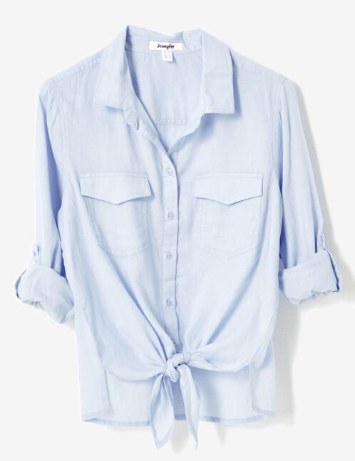 Light blue tie-fastening shirt