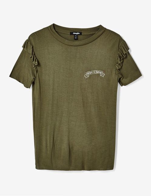 Khaki embroidered T-shirt