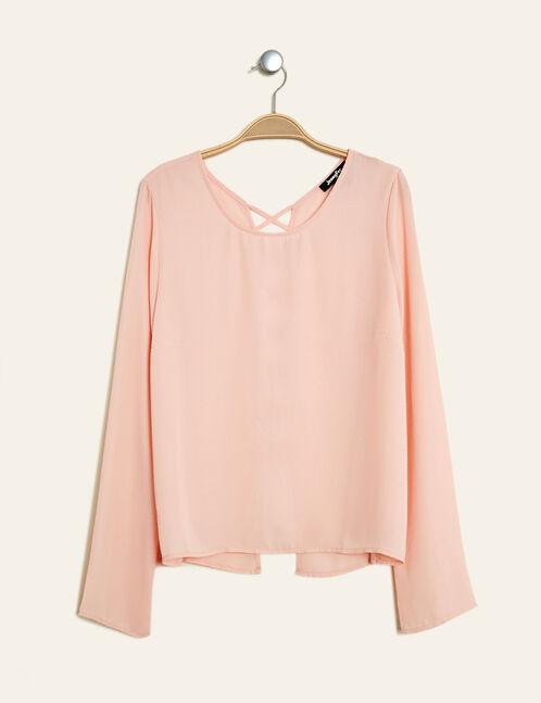 blouse avec laçage dos rose clair