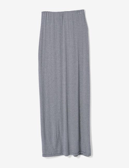 jupe rayée boutonnée bleu marine et écrue