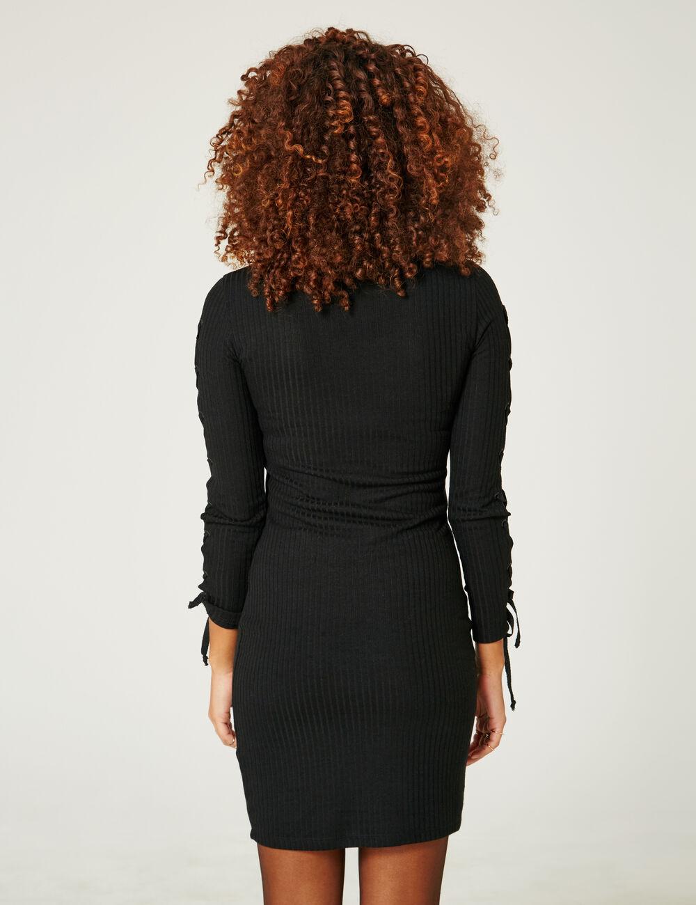 robe avec la ages manches noire femme jennyfer. Black Bedroom Furniture Sets. Home Design Ideas