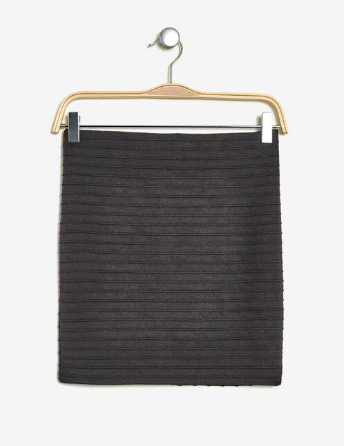 Charcoal grey textured fabric skirt