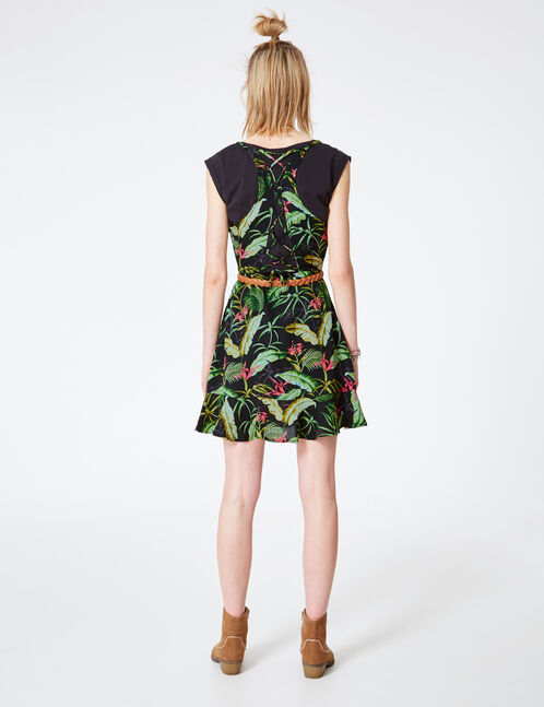 Black, green and pink tropical print dress with frill detail