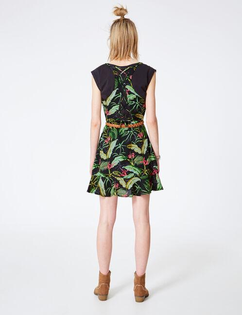 robe tropical à volants noire, verte et rose
