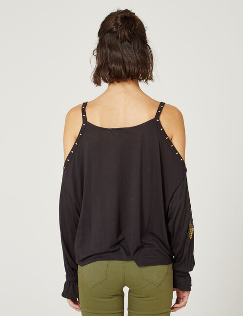 Black T-shirt with patch and stud details