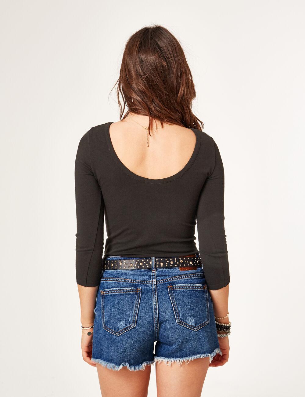 short en jean taille haute medium blue femme jennyfer. Black Bedroom Furniture Sets. Home Design Ideas