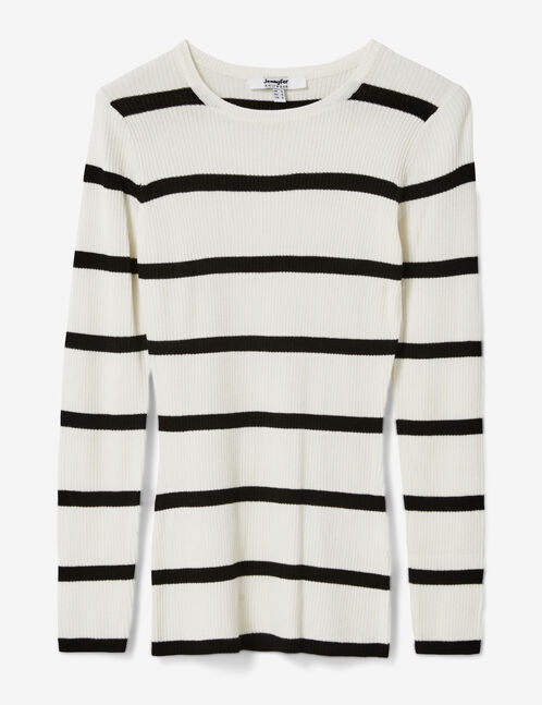 Cream and black striped ribbed jumper