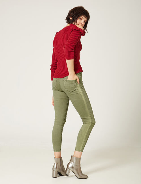 Khaki high-waisted 7/8 trousers