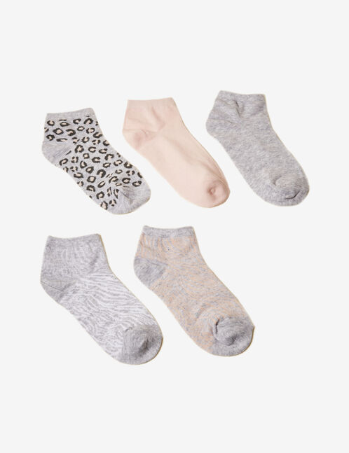 Pink, grey and white patterned socks
