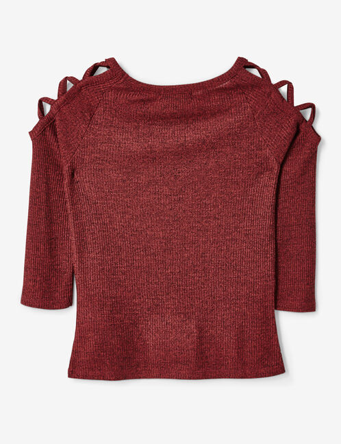 Burgundy marl top with lacing detail