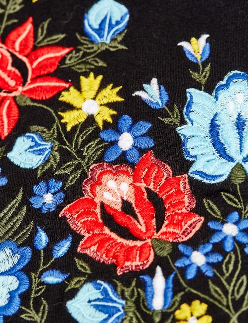body broderie fleurie noir