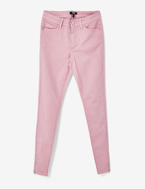Mauve trousers with decorative zip detail