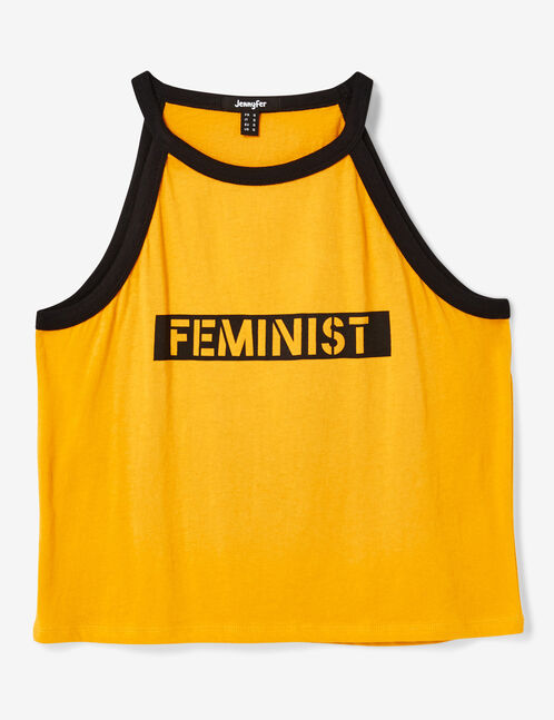 "Ochre and black ""feminist"" tank top"