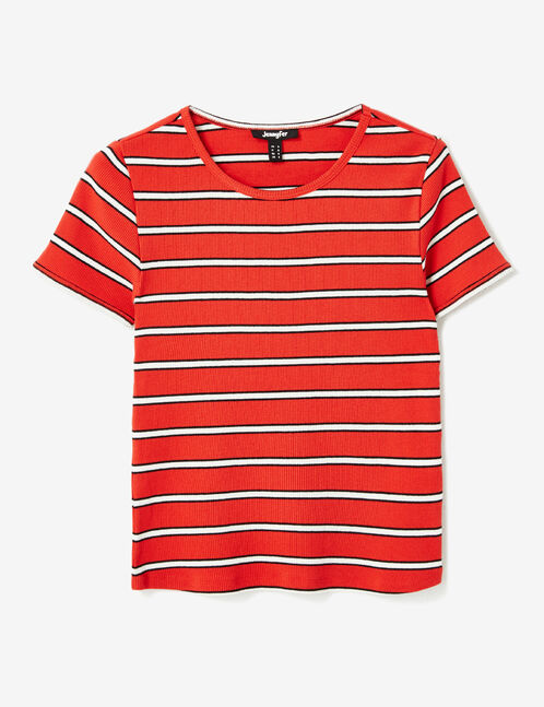 Red, black and white striped T-shirt