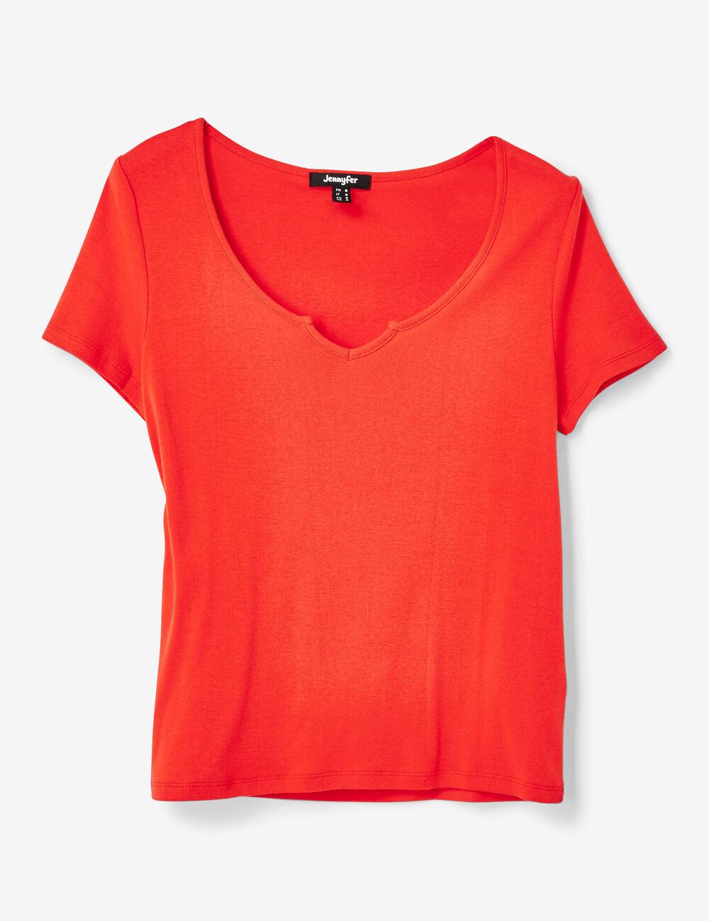 tee shirt basic rouge femme jennyfer. Black Bedroom Furniture Sets. Home Design Ideas