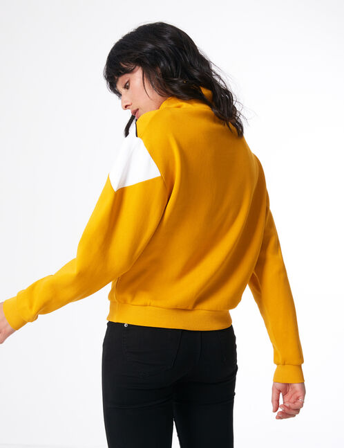 Ochre zipped sweatshirt with chevron detail