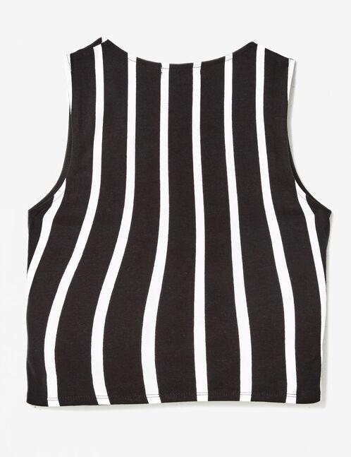 Black and white striped wrap tank top