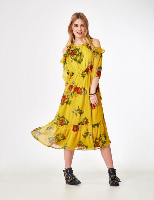 Long ochre floral dress