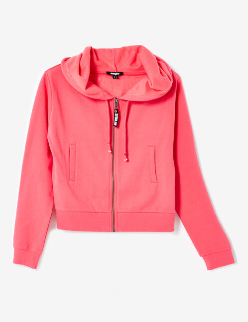 Cropped fuchsia zip-up hoodie
