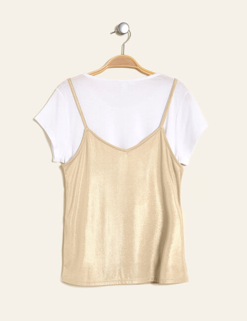 White top with a gold tank top overlay