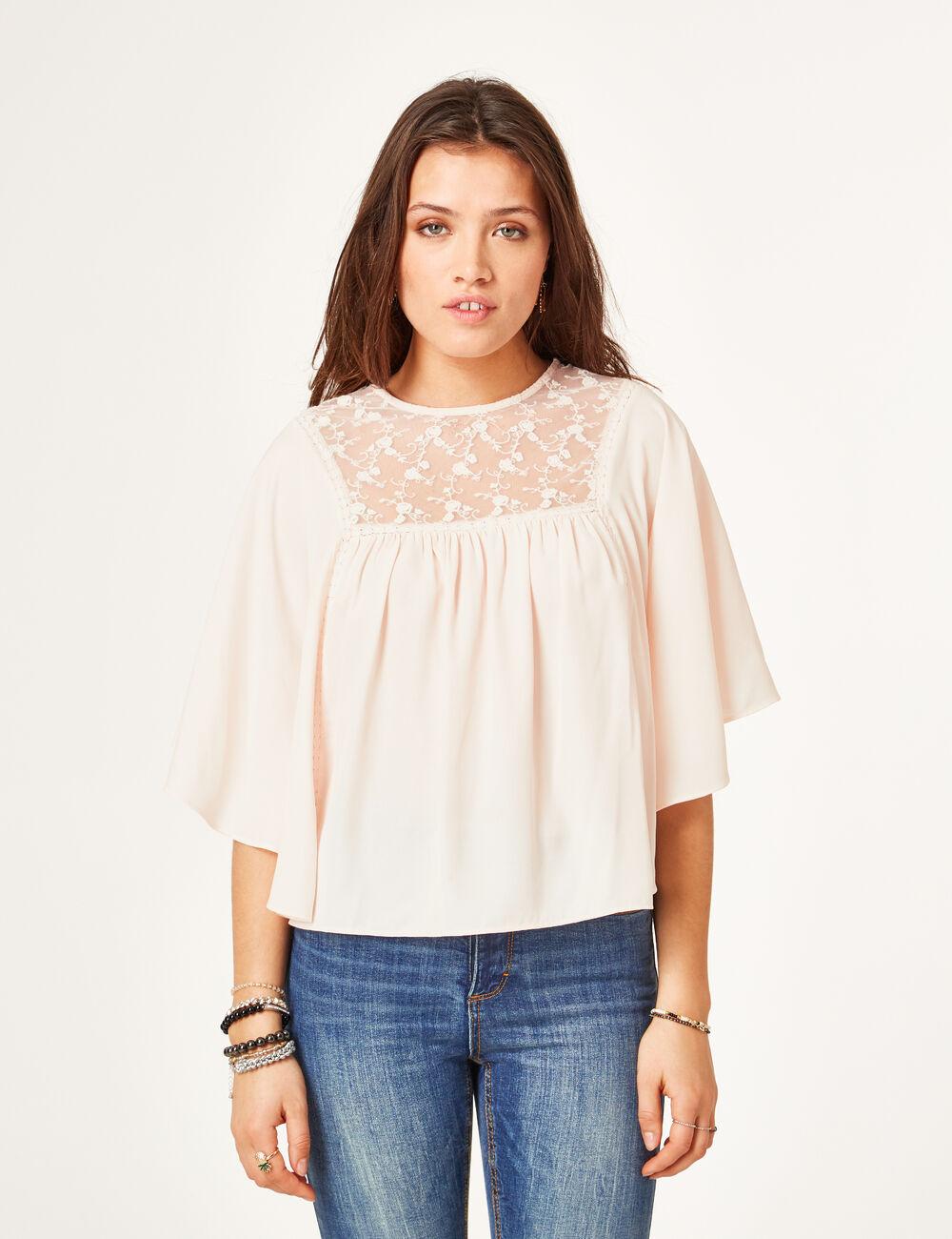 blouse avec dentelle rose clair femme jennyfer. Black Bedroom Furniture Sets. Home Design Ideas