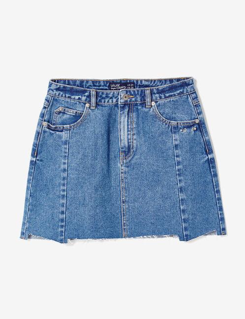 Medium blue denim skirt with piercing detail