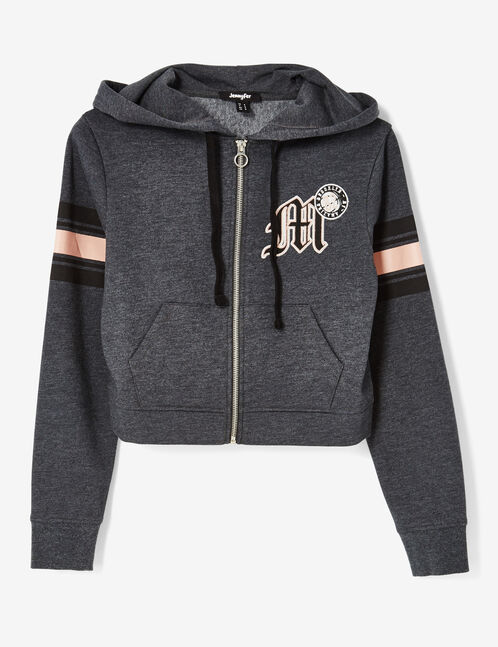 sweat zippée court gris anthracite chiné