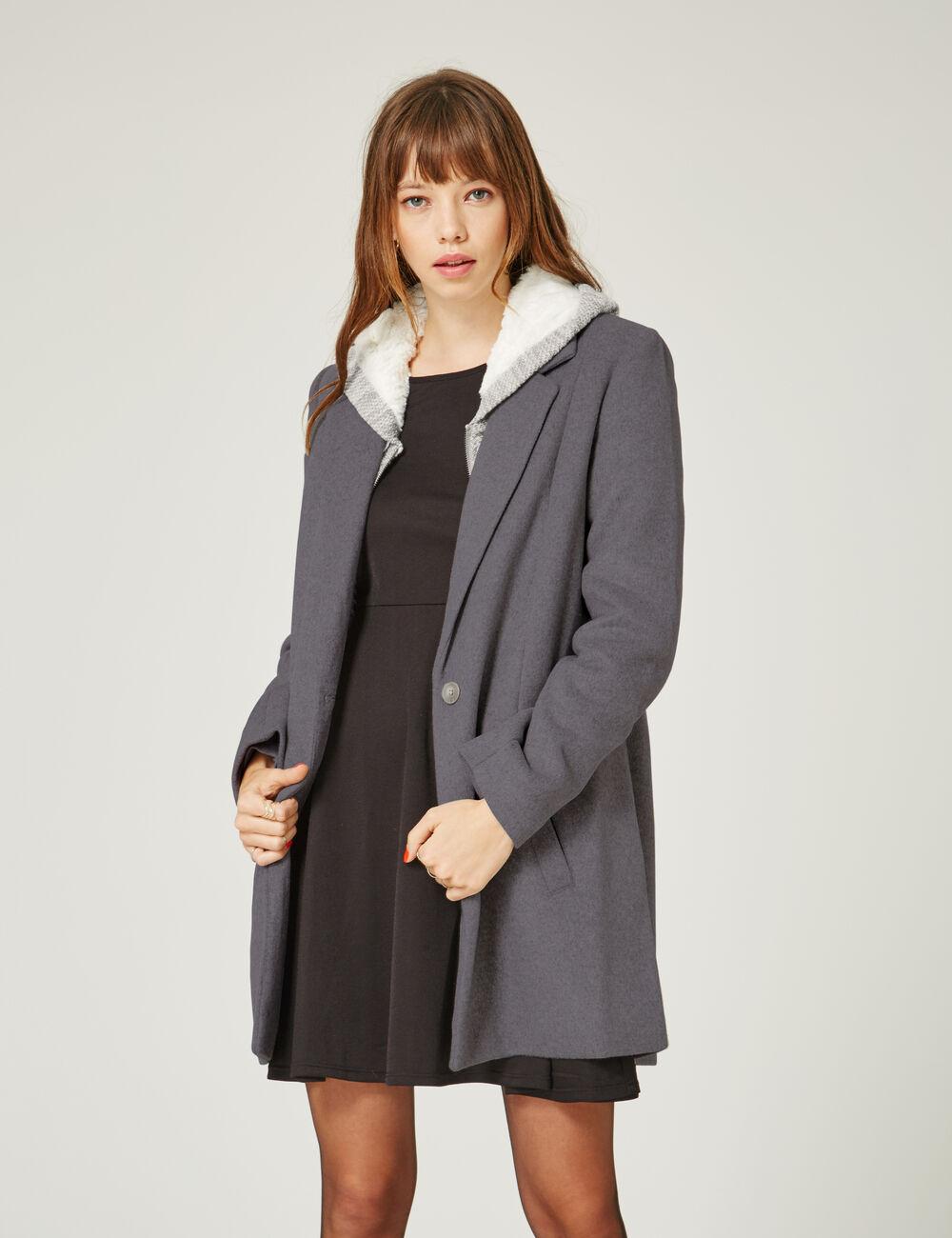 manteau revers gris chin femme jennyfer. Black Bedroom Furniture Sets. Home Design Ideas