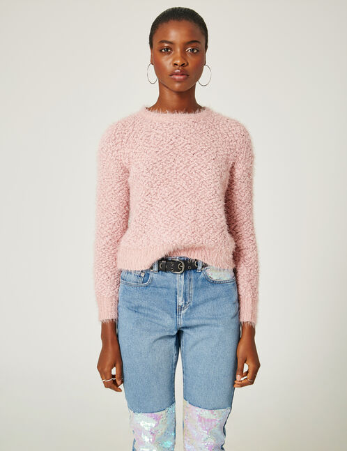 pull maille popcorn rose clair