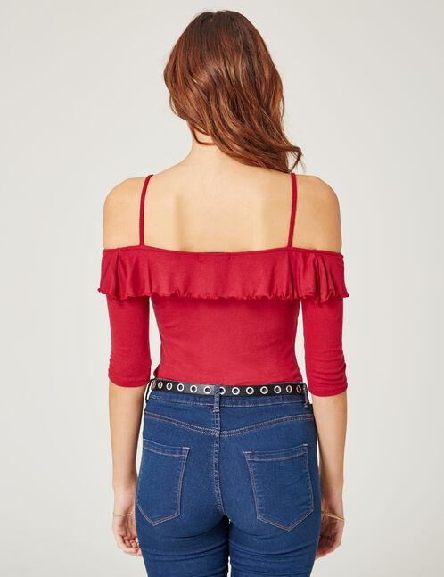 tee-shirt avec volant rouge foncé