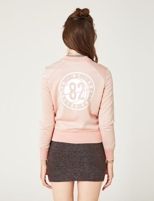 veste zippée en néoprène rose clair