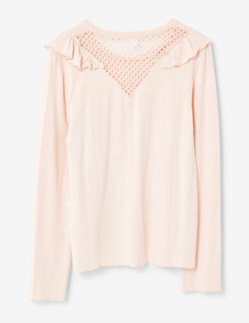 tee-shirt à volants rose clair