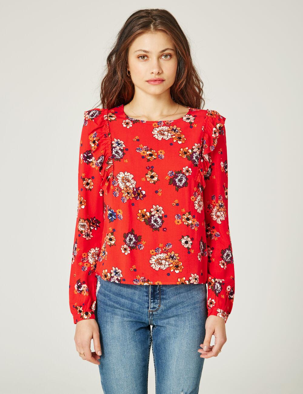 blouse fleurie rouge femme jennyfer. Black Bedroom Furniture Sets. Home Design Ideas