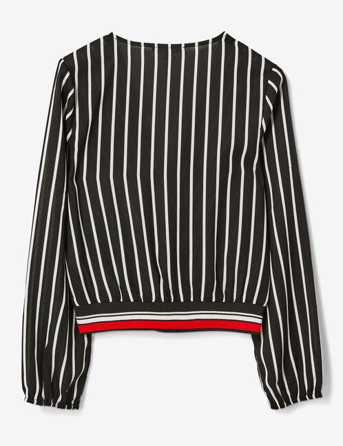 blouse cache-coeur rayée noire et blanche