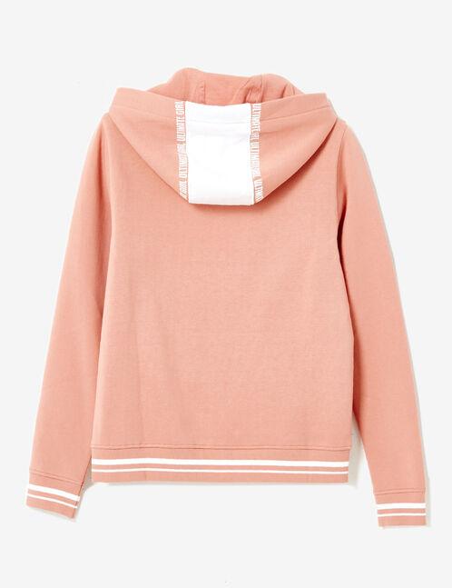sweat à capuche zippé rose