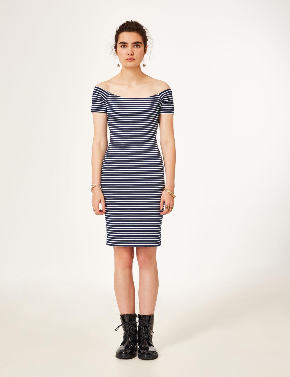 robe nouer dans le dos ray bleu marine et blanche femme. Black Bedroom Furniture Sets. Home Design Ideas