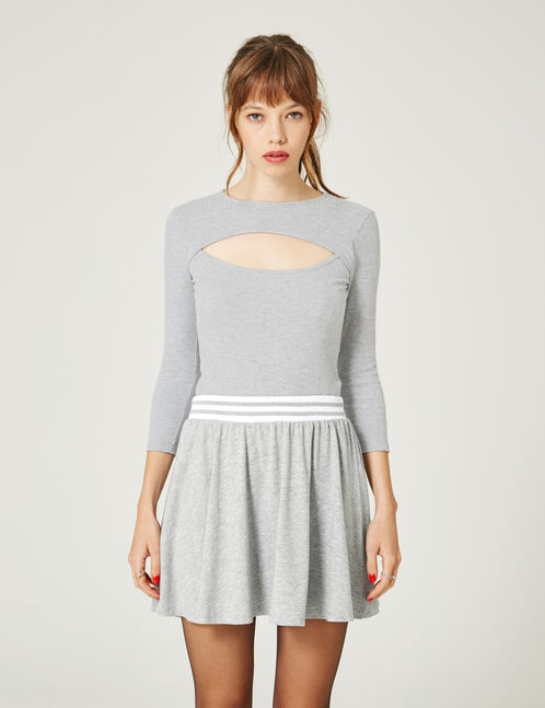 Grey marl ribbed bodysuit with cut-out detail
