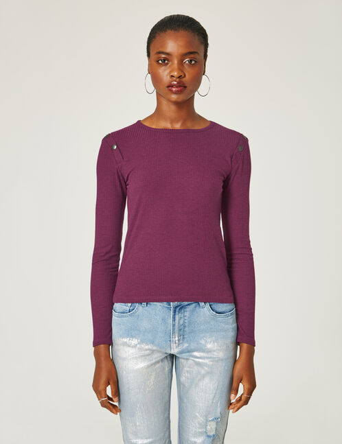 Purple top with button detail