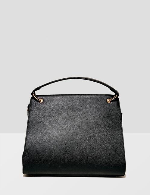 Black mixed fabric tote bag