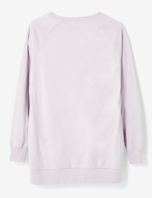 Long mauve sweatshirt with text design detail