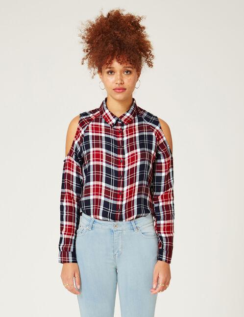 chemise épaules ajourées rouge, bleue et blanche