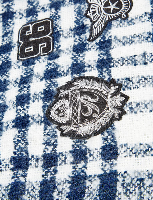 Navy blue and white checked scarf with patch detail