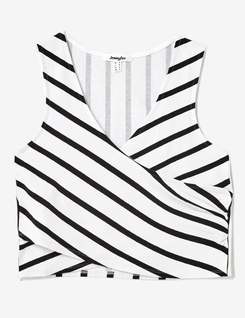 White and black striped wrap tank top