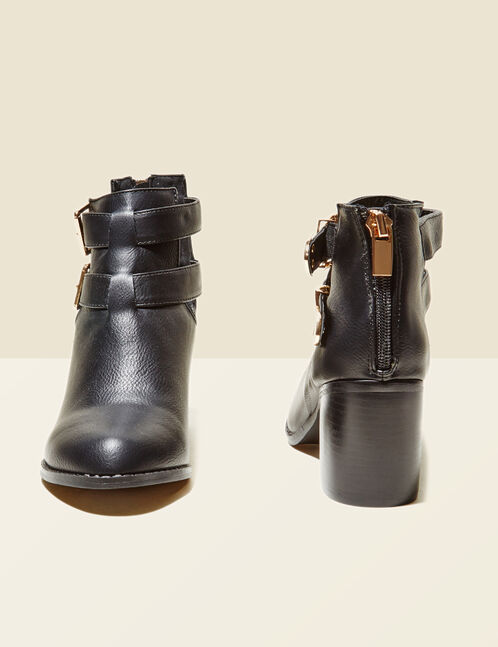 Black open-sided ankle boots with straps
