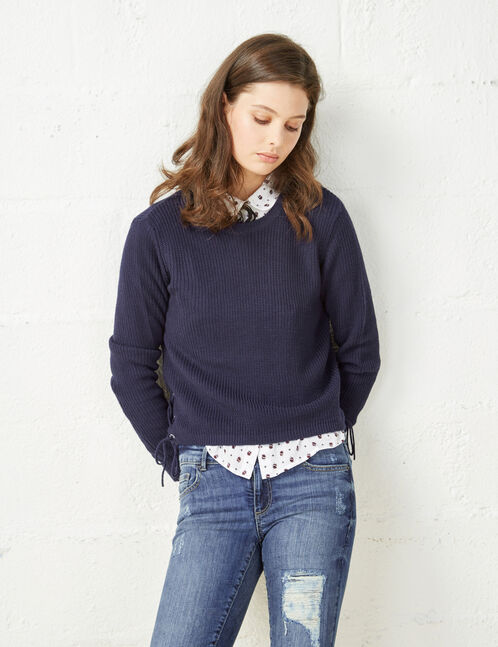 Navy blue jumper with lace-up sides