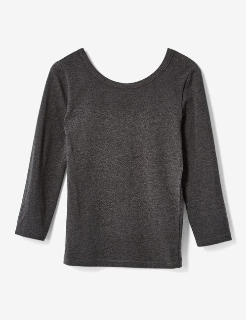 tee-shirt décolleté dos gris anthracite chiné