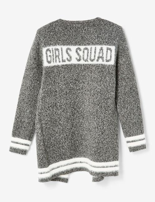 "Charcoal grey marl ""girls squad"" cardigan"