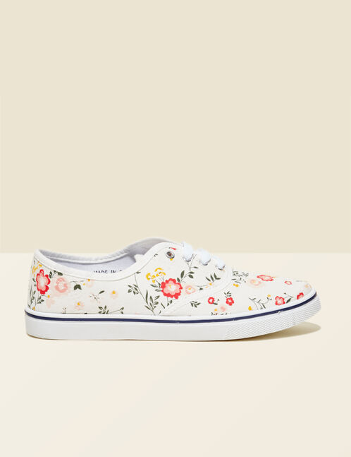 Cream floral canvas trainers
