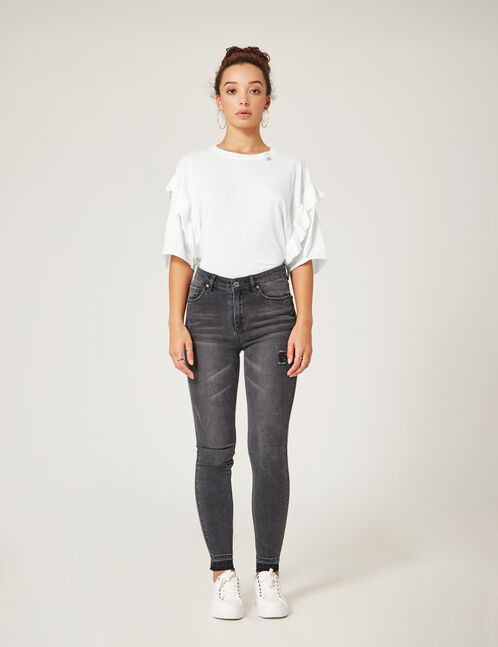 Grey unpicked stitch-effect jeans
